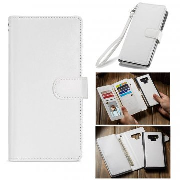 BRG Samsung Galaxy Note 9 Wallet Magnetic 2 in 1 Case White