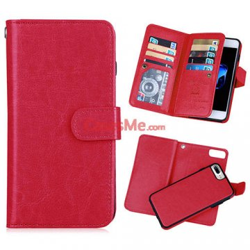 BRG iPhone 8 Plus Wallet 9 Card Slots Detachable Magnetic Case Red