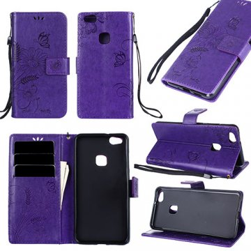 Huawei P10 Lite Wallet Embossed Ant Flower Design Stand Case Purple