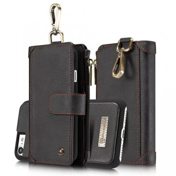 CaseMe iPhone 7 Zipper Wallet Metal Buckle Detachable Folio Case Black