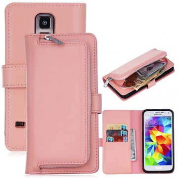Samsung Galaxy S5 Detachable Magnetic Zipper Pocket Case Pink