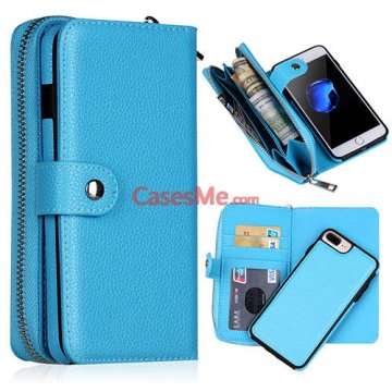 BRG iPhone 8 Plus Zipper Wallet Detachable Litchi Pattern Case Blue