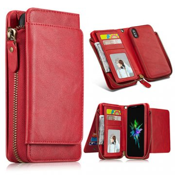 iPhone X Wallet Detachable Magnetic Case With Wrist Strap Red