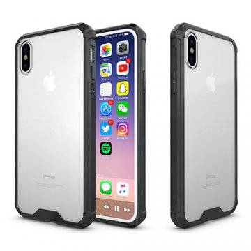 iPhone X Transparent Acrylic Shockproof TPU Protective Case Black