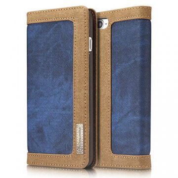CaseMe iPhone 7 Plus Canvas Wallet PU Leather Stand Case Blue