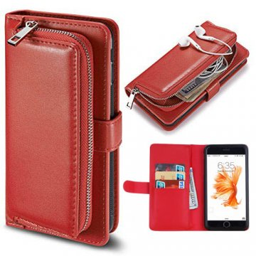 iPhone 7 Detachable Magnetic Zipper Pocket Case Red