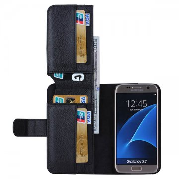 Litchi Pattern Samsung Galaxy S7 Multi-functional 7 Cards Slot Wallet Leather Case