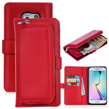 Samsung Galaxy S6 Edge Detachable Magnetic Zipper Pocket Case Red
