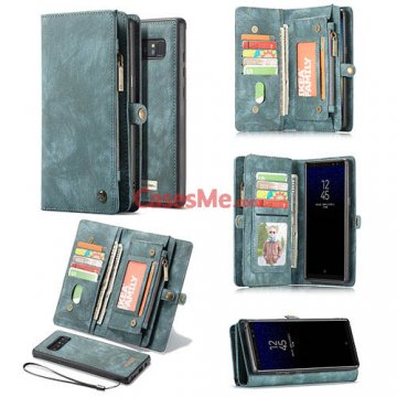 CaseMe Samsung Galaxy Note 8 Detachable Zipper Wallet Folio Case Green