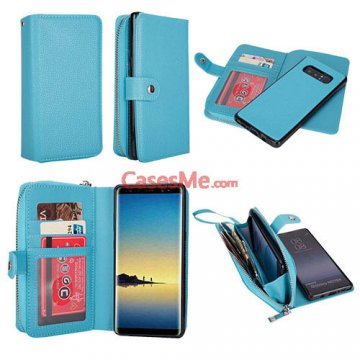 BRG Samsung Galaxy Note 8 Zipper Wallet Litchi Pattern Case Blue