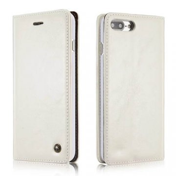 CaseMe 003 iPhone 7 Plus Business Style Magnetic Flip Wallet Case White