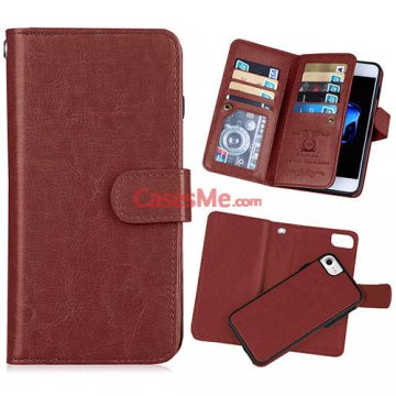 BRG iPhone 8 Wallet 9 Card Slots Detachable Magnetic Case Brown