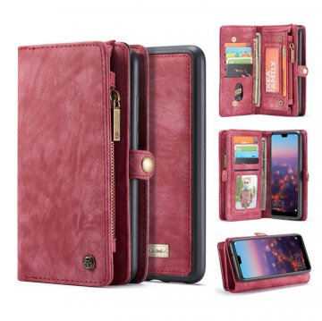 CaseMe Huawei P20 Pro Zipper Wallet Detachable Case Red