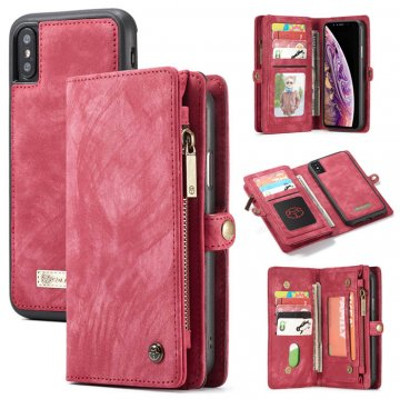CaseMe iPhone XS Zipper Wallet Detachable Magnetic Case Red