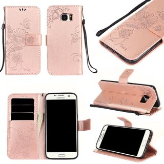 Samsung Galaxy S7 Wallet Embossed Ant Flower Stand Case Rose Gold