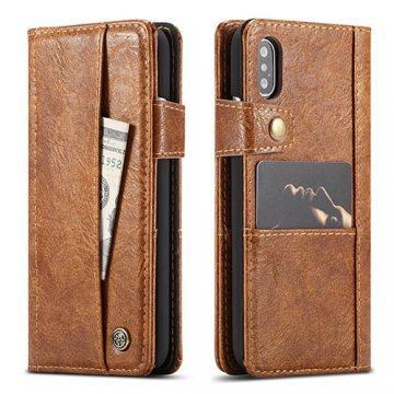 CaseMe iPhone X Retro Slot Cards Wallet Leather Case Brown