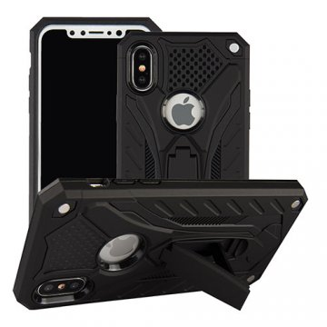 Apple iPhone X Armor Hybrid Shockproof Stand Case Black