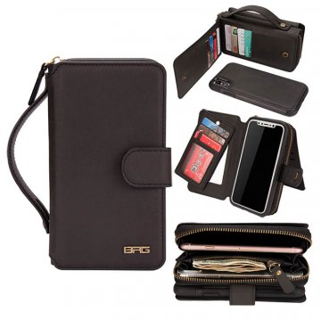 BRG iPhone XS Portable Handbag Zipper Wallet 2 in 1 Case Black