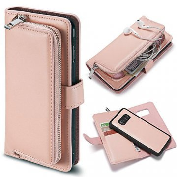 Samsung Galaxy S8 Detachable Magnetic Zipper Pocket Case Pink
