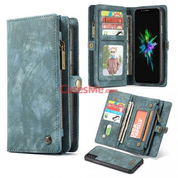 CaseMe iPhone X Zipper Wallet Detachable 2 in 1 Folio Case Green