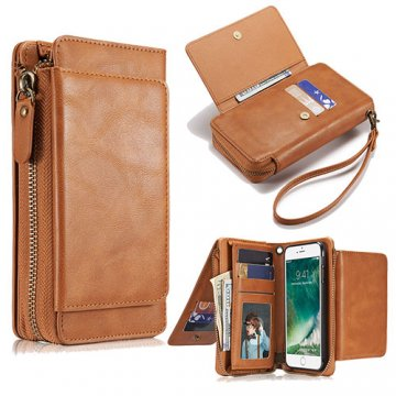 iPhone 7 Wallet Detachable Magnetic Case With Wrist Strap Brown