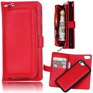 iPhone 6S/6 Detachable Magnetic Zipper Pocket Case Red