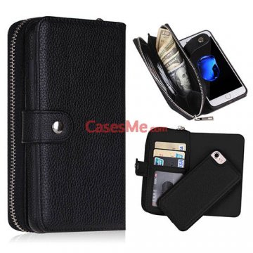 BRG iPhone 8 Litchi Pattern Zipper Wallet Detachable Case Black