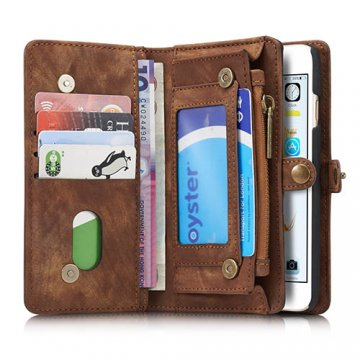 CaseMe iPhone 6S/6 Zipper Wallet Detachable 2 in 1 Folio Case Brown