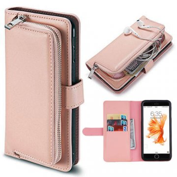 iPhone 7 Detachable Magnetic Zipper Pocket Case Pink