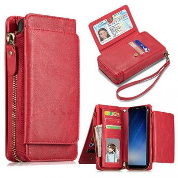 Samsung Galaxy S8 Wallet Detachable Magnetic Case With Wrist Strap Red
