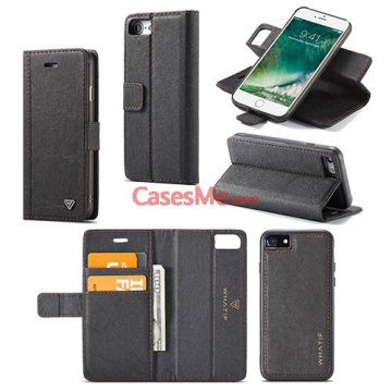 WHATIF iPhone 7 Wallet Detachable 2 in 1 Stand Case Black
