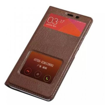 Tree Pattern Genuine Leather With Double Windows Stand Case For Xiaomi Redmi Note 2