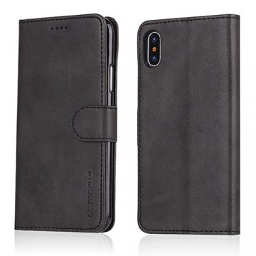 LC.IMEEKE iPhone X Wallet Stand Leather Case Black