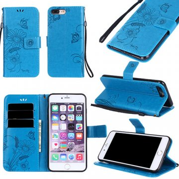 iPhone 8 Plus Wallet Embossed Ant Flower Stand Case Blue