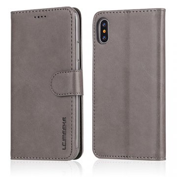 LC.IMEEKE iPhone X Wallet Stand Leather Case Grey