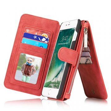 CaseMe 007 iPhone 7 Plus Retro Flannelette Leather Detachable 2 in 1 Wallet Case Red