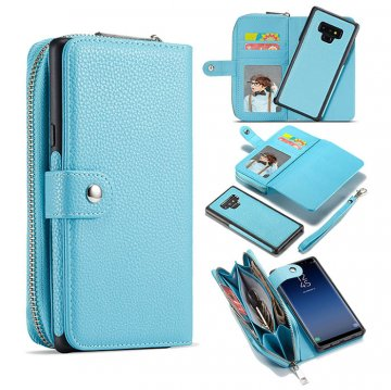 BRG Samsung Galaxy Note 9 Litchi Texture Zipper Wallet Magnetic Detachable 2 in 1 Case Blue