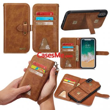 BRG iPhone X Wallet Detachable Case with Wrist Strap Brown