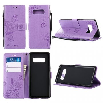 Samsung Galaxy Note 8 Wallet Embossed Ant Flower Design Case Lavender
