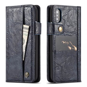 CaseMe iPhone X Retro Slot Cards Wallet Leather Case Blue