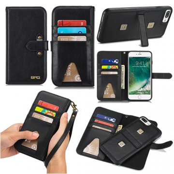 BRG iPhone 8 Plus Wallet Stand 2 in 1 Case with Wrist Strap Black