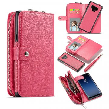 BRG Samsung Galaxy Note 9 Litchi Texture Zipper Wallet Magnetic Detachable 2 in 1 Case Rose
