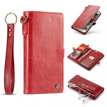 CaseMe iPhone 7 Plus Wallet Retro Case With Wrist Strap Red