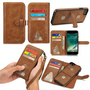 BRG iPhone 8 Wallet Detachable 2 in 1 Case with Wrist Strap Brown