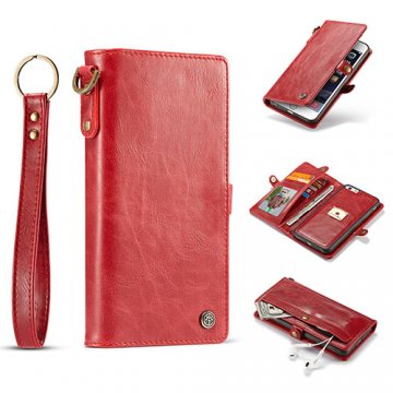 CaseMe iPhone 6S/6 Wallet Retro Style Case With Wrist Strap Red