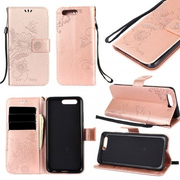 Huawei P10 Wallet Embossed Ant Flower Design Stand Case Rose Gold