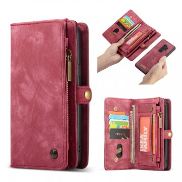 CaseMe Samsung Galaxy S9 Plus Zipper Wallet 2 in 1 Folio Case Red