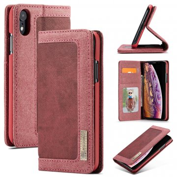 CaseMe iPhone XR Canvas Magnetic Flip Wallet Leather Case Red
