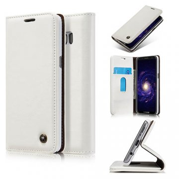 CaseMe Samsung Galaxy S8 Business Style Magnetic Flip Wallet Case White