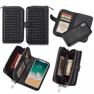 BRG iPhone X Weave Pattern Zipper Wallet Detachable Magnetic Case